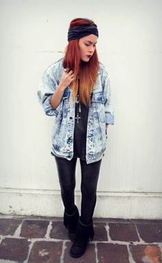 love the 80's style jean jacket & red-blonde ombre hair. awesome.