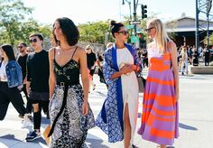 Yasmin Sewell, Lily Kwong in a Maiyet dress, Stevie Howell jacket, and Warby Parker x Maiyet sunglasses, and Candice Lake