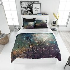 Items similar to Moon Crow Tree Comforter or Duvet Cover , Optional Pillow Shams on Etsy Bed Comforter Sets, Comforter Cover, Bed Duvet Covers, Duvet Cover Sets, Pillow Shams, Comforters, Cover Pillow, Luxury Duvet Covers, Luxury Bedding
