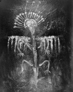 Siberian petroglyph. {Possibly a performing or dancing shaman with a spirit power aura overhead? JE]