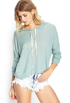 Semi-Sheer Hooded Pullover | FOREVER21  #Mint #Sweater