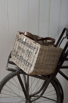 Bicycole basket from Riviera Maison -    love the stencil on basket - I'm going to try to stencil my own basket