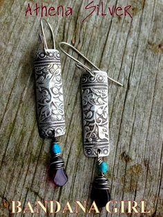 Goddess Athena Silver Drop Earrings with garnet faceted drops and petite turquoise nuggets. All natural stones and my ooak Athena Textured rectangle charms created in Sterling Silver 925*