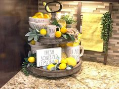 Excited to share this item from my shop: Rae Dunn inspired fresh squeezed lemonade sign, teired tray sign, mini sign Lemon Kitchen Decor, Kitchen Themes, Farmhouse Kitchen Decor, Yellow Kitchen Decor, Kitchen Decorations, Lemonade Sign, Fresh Squeezed Lemonade, Tiered Stand, Lemon Print