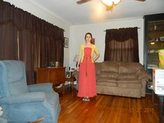 Dark coral strapless dress from Plato's Closet Yellow sweater from Goodwill Spring 2015