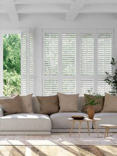 Want your home to really stand out? Then you can't beat the elegant style of these Mayfair Pure White shutters. Perfect for a living room, kitchen or dining room, these are sure to create a timeless feature. White Shutter Blinds, White Shutters, Wood Shutters, Window Shutters, Patio Door Curtains, Patio Doors, Black Window Frames, Living Room Blinds, Door Design