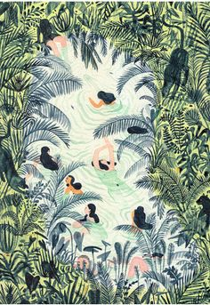 """Cannot denying that I really have crush on Monica Ramos's new series - """"Just Swim."""" Who won't love Summer, Tropical Jungle and Palm Trees? D..."""