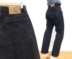 Sz 8/9 90s Black High Waisted Calvin Klein CK by SadieBessVintage