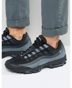 5033d092e8f2 Nike Air Max 95 Ultra Essential Trainers In Black Grey Grey Trainers