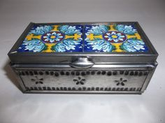 Vintage Mexican Folk Art PUNCHED Tin TILE Jewelry TRINKET BOX Mirrored