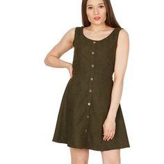 Green sleeveless button front skater dress