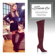 Stamatina Tsimtsili in SANTE Over-the-knee Boots #BuyWearEnjoy #CelebritiesinSante Available in stores & online: www.santeshoes.com