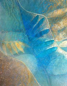 Judy Merchant Plant life 4 50 x 50 cms Fabric, paint and machine stitch
