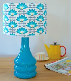 Teal Flower Petals Table Lamp – hunkydory home