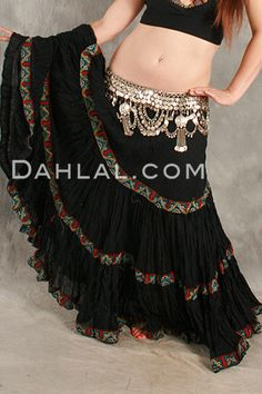 BEDOUIN TRIMMED TIERED TRIBAL SKIRT, for Belly Dance - Dahlal Internationale Store