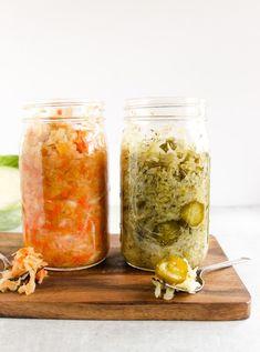 Garlic dill pickle sauerkraut, and carrot ginger lemon sauerkraut. Making Sauerkraut, Fermented Sauerkraut, Homemade Sauerkraut, Fermented Cabbage, Sauerkraut Recipes, Fermented Foods, Sweet Carrot, Carrot And Ginger