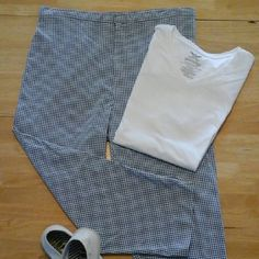 Capri blue and white Great Northwest blue & white checked capris with side zipper Great Northwest  Pants Capris