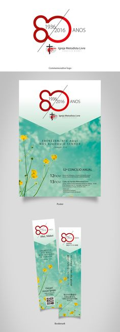 Commemorative logo for 80 years of Free Methodist Church in Brazil (Nikkei council), poster and bookmark :: designed by Sandra H. V.