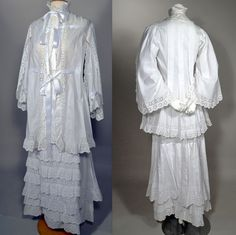 1870's VINTAGE INTRICATE WHITE WORK SWISS EMBROIDERED EYELET AND COTTON LAWN TWO PIECE MORNING GOWN.  Available for sale at rpvintage.com.