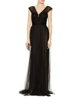 Basic black Monique Lhuillier  -  Spanish Tulle Cap Sleeve Gown from A Night to Remember: Glam Gowns on Gilt