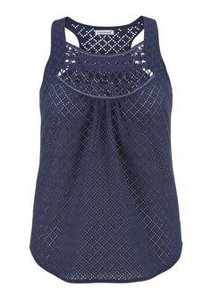 Plus Size - Eyelet Fabric Tank With Crochet Neckline - Blue