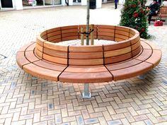 Westbrook Seat in Hardwood by Woodscape.  #treeseat #Timber #outdoor #furniture #landscaping #bench #outdoorseating