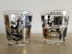 Vintage Rocks Glasses, Black and Gold Leaf, Hangover Cartoon Pattern called Mourning After B by GrowingOldVintage on Etsy
