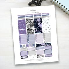 Free Printable Planner Stickers - Violet Florals Free Planner, Planner Pages, Happy Planner, Planner Ideas, Printable Planner Stickers, Free Printables, Letter Size Paper, Day Planners, Organizing