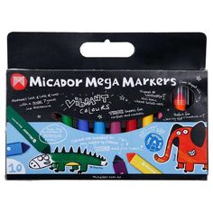 Back to school! Micador Mega Markers are in 10 vibrant colours with a huge 7 grams of ink inside. They are non-toxic so safe for little hands. Designed in Australia. $19.99