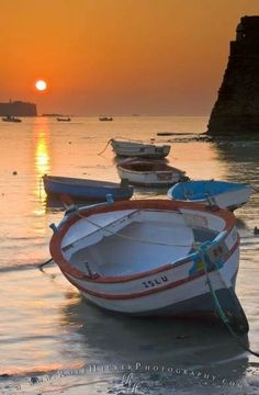 Free Computer Background: A romantic vacation scene with small wooden fishing boats during a colorful sunset in Cadiz, Spain. Beautiful Sunset, Beautiful World, Beautiful Places, Cadiz Spain, Romantic Vacations, Fishing Boats, Fishing Games, Fishing Guide, Bass Fishing