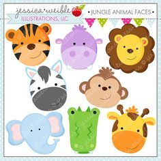 Jungle Animal Faces Cute Digital Clipart - Commercial Use OK - Jungle Animal Clipart, Jungle Animal Graphics on Etsy, $5.90 AUD