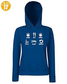 T-Shirtshock - Sweatshirt Hoodie Frauen T0743 weed eat weed love sleep repeat fun cool geek, Größe M (*Partner-Link)