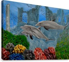Aquatic Symphony Wood Print by Faye Anastasopoulou. All wood prints are professionally printed, packaged, and shipped within 3 - 4 business days and delivered ready-to-hang on your wall. Dolphin Painting, Wall Art Prints, Canvas Prints, Fine Art Posters, Thing 1, Art For Sale Online, Artwork Images, Realism Art, Wood Print