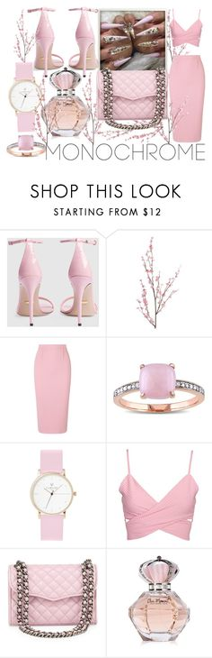 """""""Pink From Head To Toe Wrap Crop Bodycon Skirt and Gucci Heels"""" by fashion-this-style-that ❤ liked on Polyvore featuring Gucci, Pier 1 Imports, Roland Mouret, Miadora, Laruze and Rebecca Minkoff"""