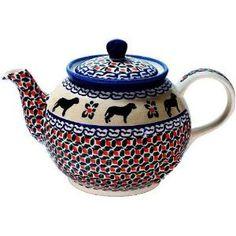 Ceramika Artystyczna Signed Polish Pottery Dog Lab Pattern Teapot  byPP