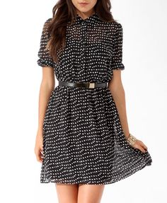 Abstract Ditsy Dot Shirtdress | FOREVER21 - 2019571255