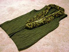 DIY sweater vest trimmed with fake fur