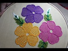 Hand Embroidery Designs | Net stitch design for cushion cover | Stitch and Flower-157 - YouTube Basic Embroidery Stitches, Embroidery Flowers Pattern, Silk Ribbon Embroidery, Hand Embroidery Designs, Embroidery Techniques, Embroidery Ideas, Simple Embroidery, Embroidery Thread, Crochet Stitches For Beginners