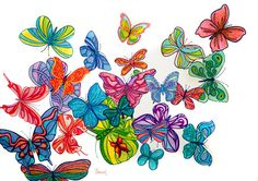 Pen Art: Detailed butterfly collage made with coloured pens by Sarah Jansma Pen Design, Collage Making, Pen Art, Pens, Butterfly, Color, Bowties, Colour, Caterpillar