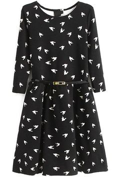 Shop Black Long Sleeve Birds Print Pleated Dress online. Sheinside offers Black Long Sleeve Birds Print Pleated Dress & more to fit your fashionable needs. Free Shipping Worldwide!