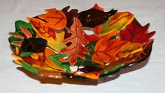 Fused Glass Leaf Bowl by BloomingLilyGlass on Etsy, $175.00