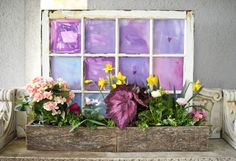 Old window made into flower box