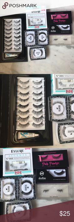 15 pairs of never opened false eyelashes! 15 pairs of never opened false eyelashes! Ardell, eylure, Shu Uemura, kokie, pink pewter + DUO glue Makeup False Eyelashes