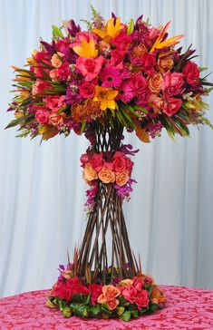 brightly colored pieces Reception Decorations, Flower Decorations, Wedding Centerpieces, Decor Wedding, Centrepieces, Tall Centerpiece, Floral Centerpieces, Wedding Table, Table Arrangements