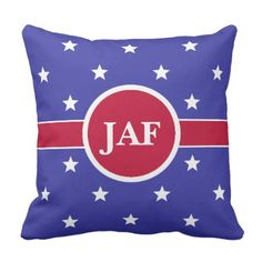 Custom Monogram Red White and Blue Throw Pillow - monogram gifts unique design style monogrammed diy cyo customize