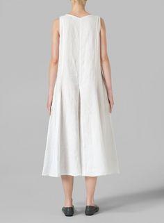 MISSY Clothing - Linen Sleeveless Tea Length Dress