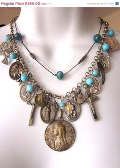 SALE Religious Assemblage Charm Necklace Vintage by JeepersKeepers, $157.25