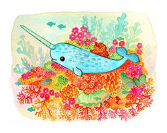 Sammy Narwal, by My Zoetrope.  i LOVE this. all my favorite colors and narwhals!!