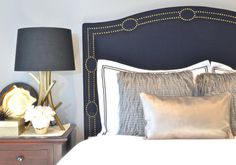 ShorelineHome | Upholstered Headboard, King, Queen, Full, Twin Size, Navy Blue Linen Fabric, Antique Brass Nailhead Trim w/ Circle Design, Camelback Shape