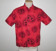 Vintage 1950s Red Hawaiian Floral Shirt By Hawaiiana Made In Hawaii - Size M by SayItWithVintage on Etsy